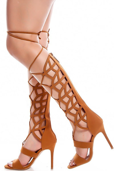 May01 Chestnut Laser Cut Lace Up Wrap Knee High Stiletto Boot - Wholesale Fashion Shoes