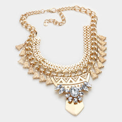 METAL GOLD TASSEL CLUSTER NECKLACE AND EARRING SET - Wholesale Fashion Shoes - 2