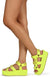 Mia02 Neon Lime Chain Strap Open Toe Caged Platform Wedge