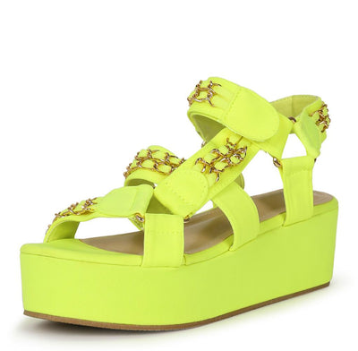 Mia02 Neon Lime Chain Strap Open Toe Caged Platform Wedge - Wholesale Fashion Shoes