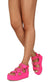 Mia02 Neon Fuchsia Chain Strap Open Toe Caged Platform Wedge