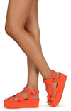 Mia02 Neon Orange Chain Strap Open Toe Caged Platform Wedge - Wholesale Fashion Shoes