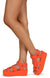 Mia02 Neon Orange Chain Strap Open Toe Caged Platform Wedge