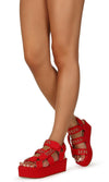 Mia02 Red Chain Strap Open Toe Caged Platform Wedge - Wholesale Fashion Shoes