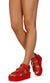 Mia02 Red Chain Strap Open Toe Caged Platform Wedge