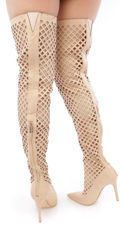 Mini2 Nude Pointed Toe Multi Cut Out Thigh High Boot - Wholesale Fashion Shoes