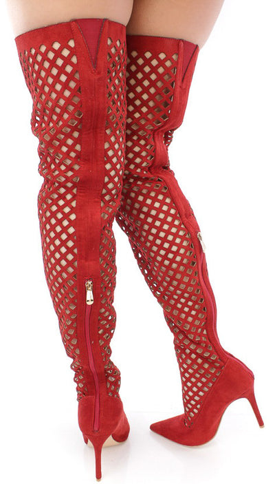 Mini2 Red Pointed Toe Multi Cut Out Thigh High Boot - Wholesale Fashion Shoes
