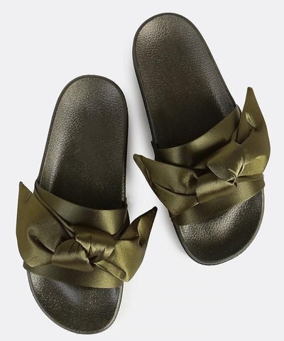 Moira19 Olive Open End Bow Slide on Low Platform Sandal - Wholesale Fashion Shoes