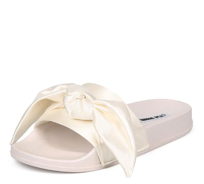 Moira19 White Open End Bow Slide on Low Platform Sandal - Wholesale Fashion Shoes