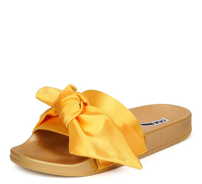 Moira19 Gold Open End Bow Slide on Low Platform Sandal - Wholesale Fashion Shoes