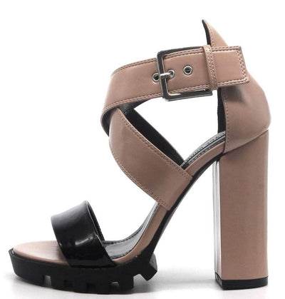 Monstrous Nude Open Toe Cross Strap Lug Sole Block Heel - Wholesale Fashion Shoes