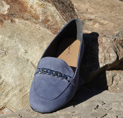 Moonlight01 Moon Blue Suede Chain Loafer Flat - Wholesale Fashion Shoes