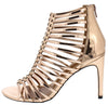 Mac Rose Gold Metallic Caged Open Toe Stiletto Heel - Wholesale Fashion Shoes