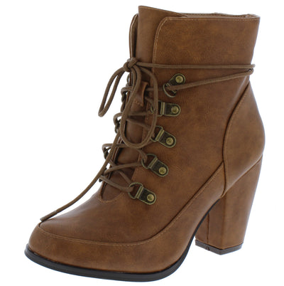 Olivia261 Tan Almond Toe Lace Up Ankle Boot - Wholesale Fashion Shoes