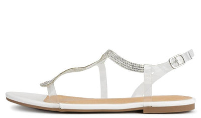 Aubrey082 White Open Toe Lucite Rhinestone Slingback Sandal - Wholesale Fashion Shoes
