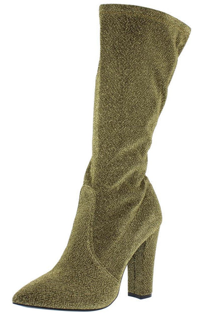 Madam06m Gold Shimmer Fabric Chunky Heel Boot - Wholesale Fashion Shoes