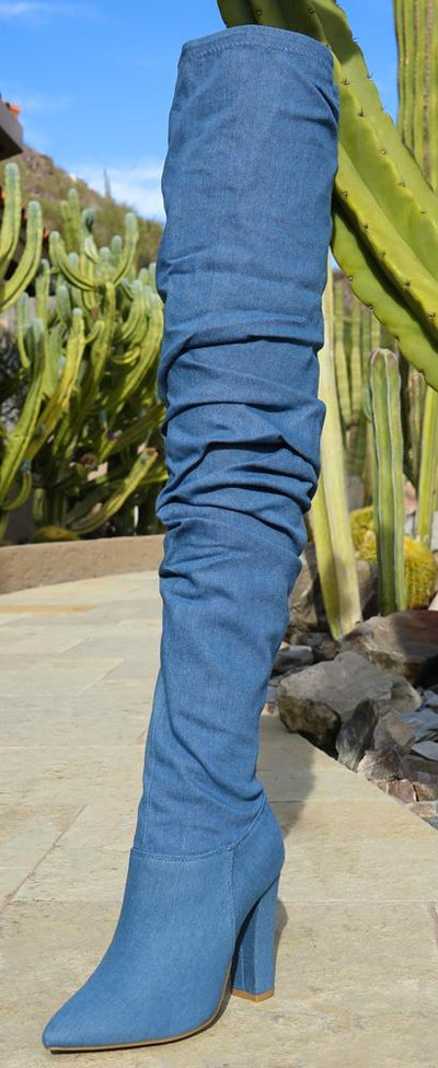 Madam18s Blue Denim Pointed Toe Slouch Thigh High Boot - Wholesale Fashion Shoes