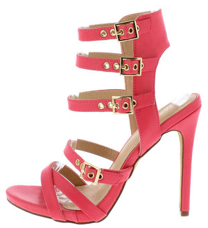 7889c20e38c Madina1 Coral Open Toe Multi Buckle Strap Cut Out Stiletto Heel - Wholesale  Fashion Shoes