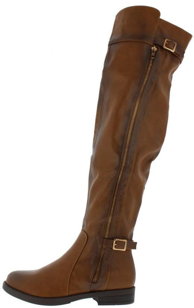 Sally46 Cognac Pu Distressed Over the Knee Dual Strap Zipper Boot - Wholesale Fashion Shoes