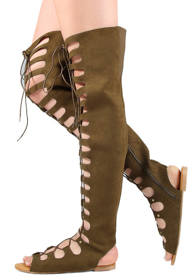 Magical24s Olive Lace Up Gladiator Thigh High Boot - Wholesale Fashion Shoes