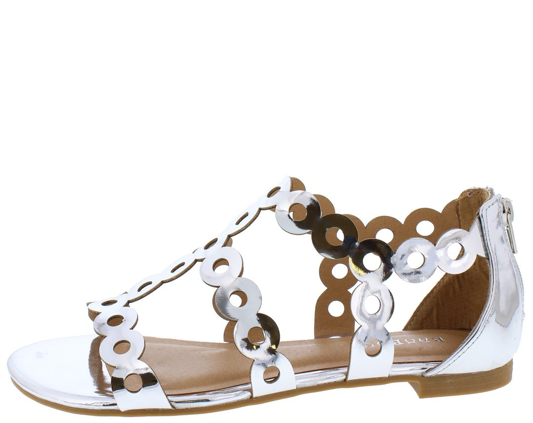 290547bfb0ff Magical40s Silver Ring Link Open Toe T Strap Gladiator Sandal - Wholesale  Fashion Shoes