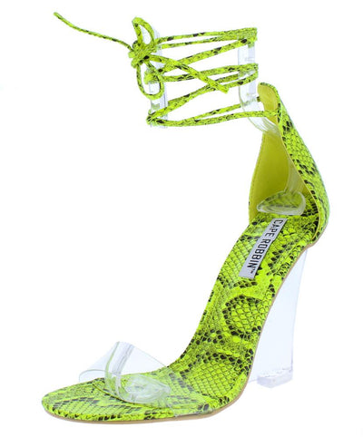 Magnetic Lime Snake Open Toe Ankle Wrap Lucite Wedge - Wholesale Fashion Shoes