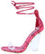 Magnetic Pink Open Toe Ankle Wrap Lucite Wedge