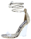 Magnetic Snake Open Toe Ankle Wrap Lucite Wedge - Wholesale Fashion Shoes