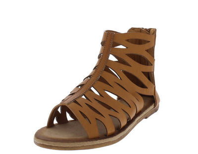 Maintain51s Tan Laser Cut Open Toe Gladiator Sandal - Wholesale Fashion Shoes