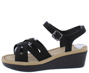 ee8557d534b5b Makeup11 Black Woven Cross Strap Open Toe Low Wedge - Wholesale Fashion  Shoes