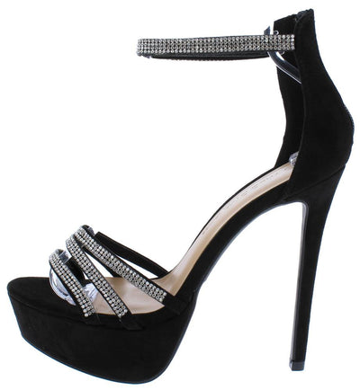 Malia01 Black Rhinestone Open Toe Ankle Strap Platform Heel - Wholesale Fashion Shoes