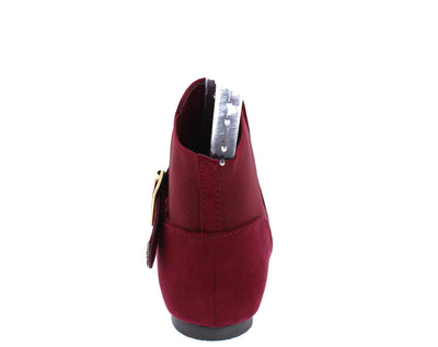 Malibu16a Burgundy Pointed Toe Elastic Slip on Ankle Boot - Wholesale Fashion Shoes