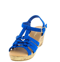 ABIGAIL9 BLUE OPEN TOE MULTI KNOT CORK LOW PLATFORM KIDS WEDGE - Wholesale Fashion Shoes