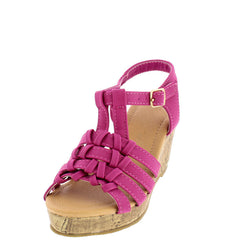 ABIGAIL9 PINK OPEN TOE MULTI KNOT CORK LOW PLATFORM KIDS WEDGE - Wholesale Fashion Shoes