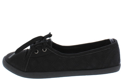 Malibu Black Quilted Women's Sneaker Flat - Wholesale Fashion Shoes