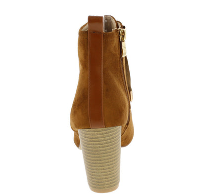 Mandarin6 Camel Almond Toe Lace Up Chunky Heel Ankle Boot - Wholesale Fashion Shoes