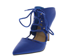 MANDY02 BLUE LACE-UP POINTED TOE HEEL - Wholesale Fashion Shoes