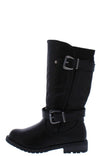 Mango24k Black Dual Buckle Lug Sole Kids Boot - Wholesale Fashion Shoes