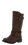 Mango24k Brown Dual Buckle Lug Sole Kids Boot - Wholesale Fashion Shoes