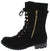 Mango81 Black Sweater Cuff Lace Up Lug Boot