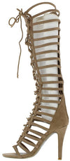 Mangosteen3 Beige Suede Gladiator Knee High Lace Upboot - Wholesale Fashion Shoes