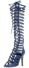 Mangosteen3 Blue Suede Gladiator Knee High Lace Up Boot - Wholesale Fashion Shoes