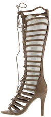 Mangosteen3 Khaki Gladiator Knee High Lace Up Boot - Wholesale Fashion Shoes