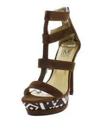 MANHATTAN10 BROWN CAGED TRIBAL PRINT HEEL - Wholesale Fashion Shoes