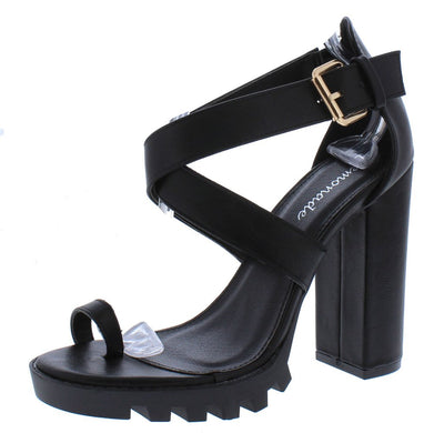 Manhattan Black Toe Ring Cross Strap Lug Sole Chunky Heel - Wholesale Fashion Shoes
