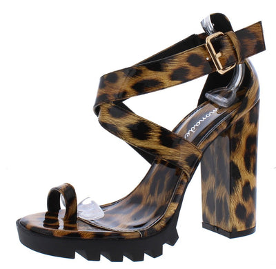 Manhattan Leopard Toe Ring Cross Strap Lug Sole Chunky Heel - Wholesale Fashion Shoes