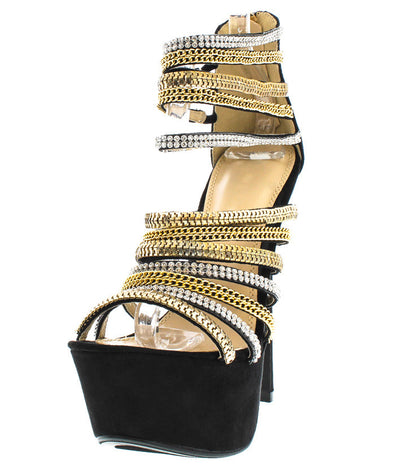 Madelyn Black Strappy Chain Platform Heel - Wholesale Fashion Shoes