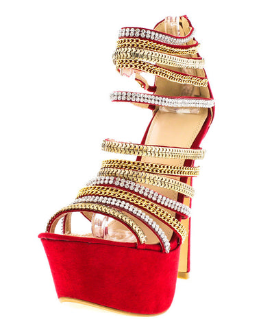 Madelyn Red Strappy Chain Platform Heel - Wholesale Fashion Shoes