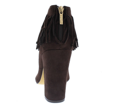 Victoria Chocolate Pointed Toe Fringe Cut out Boot - Wholesale Fashion Shoes