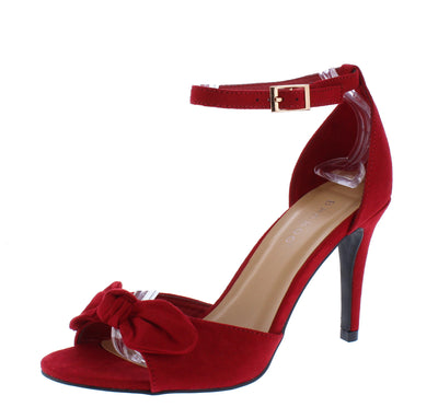 Manners11 Red Knotted Bow Peep Toe Ankle Strap Heel - Wholesale Fashion Shoes
